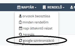 google naptár szink menu